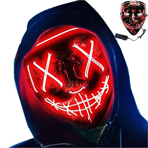 Retoo Halloween LED Maske mit 3 Beleuchtungsmodi, Scary Neon Purge Maske im Dunkeln Leuchtend für Herren & Damen, Grusel Maske für Kostümspiele, Feste, Cosplays, Karneval und Partys (Rot)