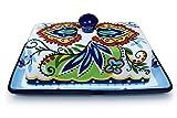 Platos de mantequilla pintados a mano con cubiertas, para