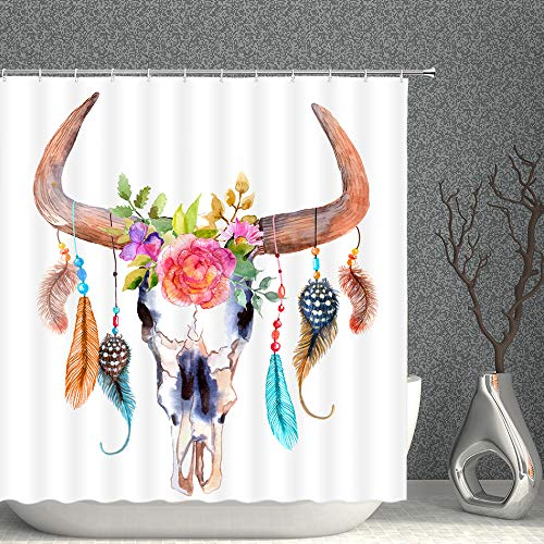 Feather Shower Curtain Watercolor Bull Skull with Feathers Flowers Decor White Fabric Bathroom Curtains,70x70 Inch Waterproof Polyester with Hooks