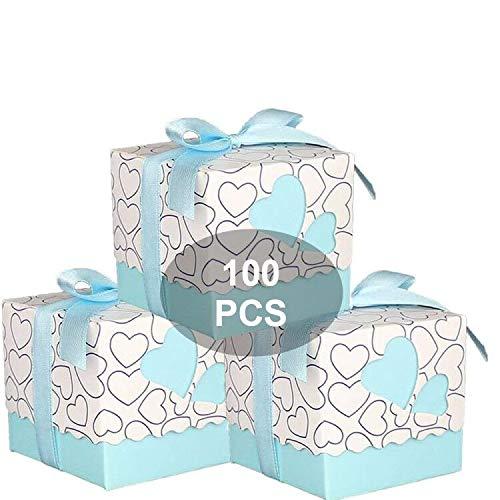 Wady 100 pz Scatole Portaconfetti di Carta Bomboniere Regalo Segnaposti Decorazioni per Festa Matrimonio Battesimo Compleanno, Incluso Nastrino