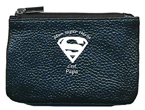 Petit Porte Monnaie en Cuir Porte cles Noir Super Heros Papa
