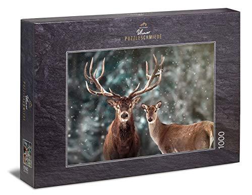 Puzzle Ciervos: Puzzle de 1000 Piezas   un par de Ciervos en el Paisaje de Invierno