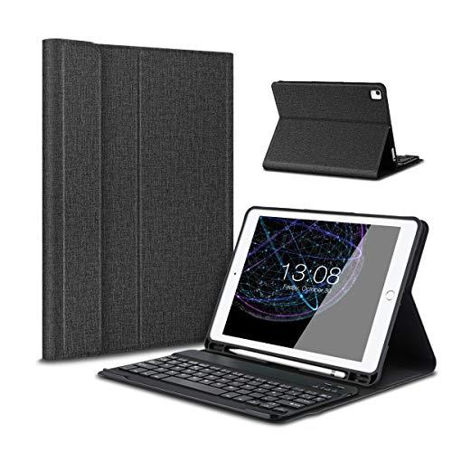 Besmall iPad 9.7 2017/2018 Funda de Teclado con Portalápices, Teclado inalámbrico Bluetooth con Cuero de la PU Cubierta para iPad 9.7 Lanzado en 2017/2018, iPad Air 1/2, iPad Pro 9.7 - Negro