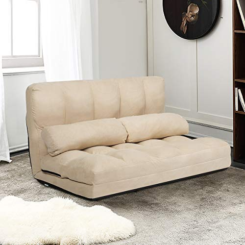 Giantex Adjustable Floor Sofa, Foldable Lazy Sofa Sleeper Bed 6-Position Adjustable, Suede Cloth Cover, Floor Gaming Sofa Couch with 2 Pillows for Bedroom/Living Room/Balcony (Beige)
