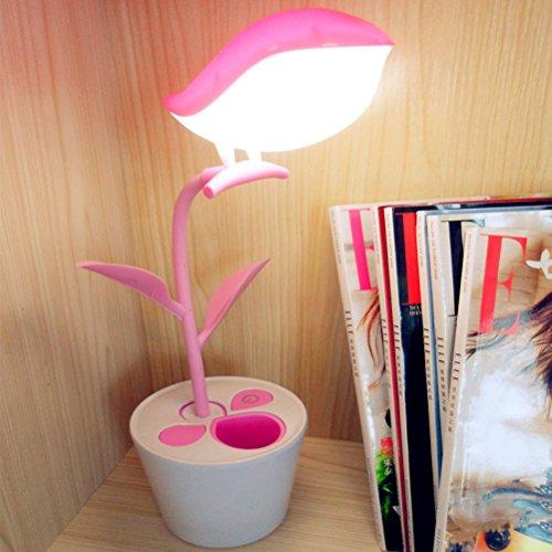 ledmomo USB LED lámpara con forma de pájaro LED Lámpara de escritorio con Touch de Sensitive (Rosa)