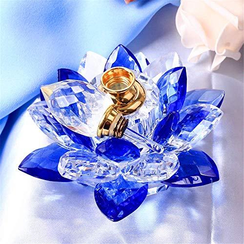 AMITD, kristal, lotusbloem, wierookbrander, figuren, miniaturen, Feng Shui, glas, parfum, fles voor wooncultuur, geschenken voor bruiloft, souvenirs (blauw)