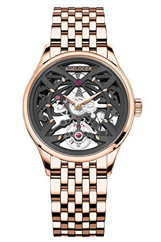 Agelocer Top marca mecánico esqueleto automático reloj de lujo elegante señoras Navidad San Valentín (NK_6702D9)
