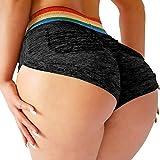 YOFIT Womens Ruched Butt Lifting Gym Shorts High Waisted Booty Yoga Shorts Workout Running Twerking Daisy Dukes Shorts #1 Black S