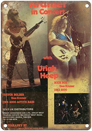 Letrero de metal con aspecto retro de la guitarra Kramer Uriah Heep