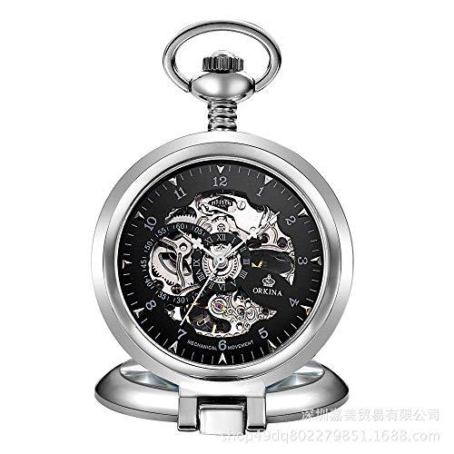 Relojes de Bolsillo para Hombre Reloj de Bolsillo Grande con Forma de almeja Reloj de Bolsillo mecánico con Hueco en la Parte Inferior para Hombre Oro Plata Negro Caballero