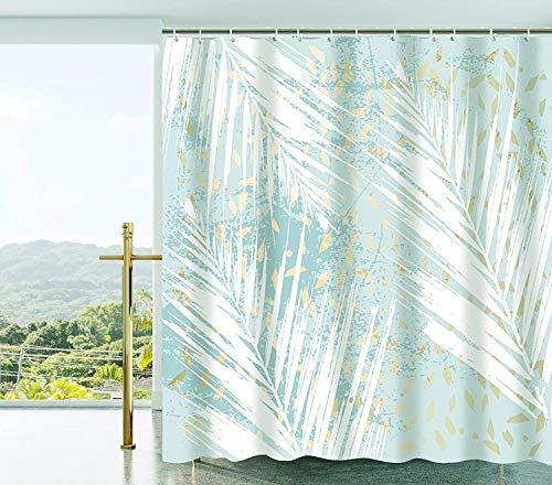 """Shower Curtain with Metal Hooks, 72"""" x 72"""" Thick Heavy Duty Fabric Bathroom Shower Curtain Set with Hooks No Chemical Odor Rust-Resistant Grommet Holes Modern Home Decorations Green Tropical Leaves"""
