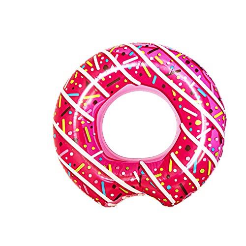 L + H WORLD XXL aufblasbarer Donut Schwimmring Pink in Premium Qualität   Schwimmreifen Schwimmring Donut Reifen Groß aufblasbar mit Biss   Ideal für den Pool für Kinder & Erwachsene