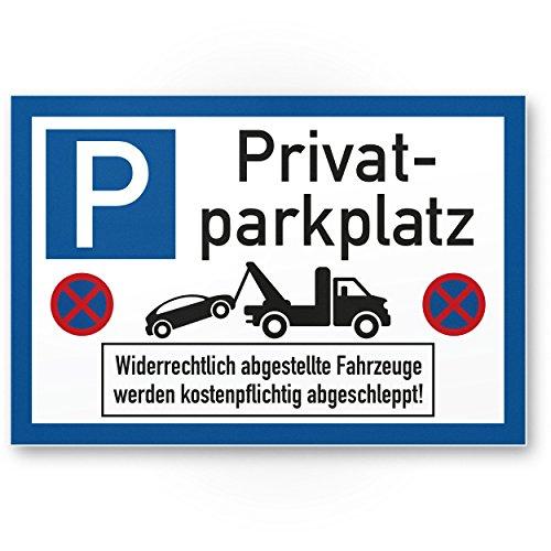 Privatparkplatz - Parkverbot (weiß-blau, 30 x 20 cm), Hinweisschild, Verbotsschild, Parkplatzschild Privat Parkplatz - Warnung Autos/Fahrzeuge, Warnschild - Parkplatz Freihalten