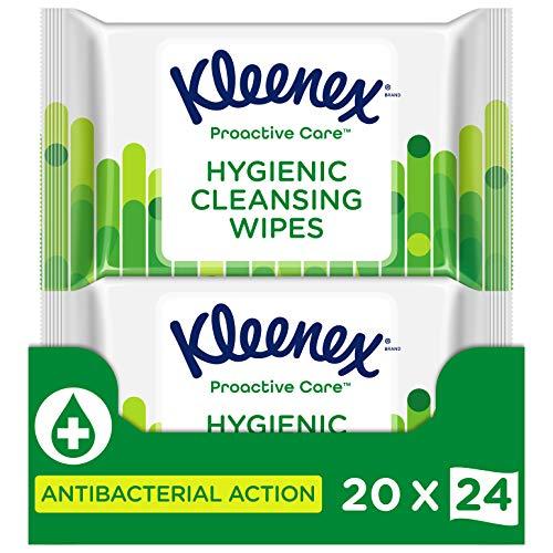 Kleenex Proactive Care, Hygienische Feuchttücher, Einzelblattausgabe, Plastikfrei, Antibakterielle Wirkung ohne Alkohol, 20 x 24 Tücher