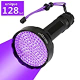 UV Blacklight Flashlight, Super Bright 128 LED Pet Dog Cat Urine Detector light Flashlight for Pet Urine Stains, UV Black light Flashlight for Bed Bugs, Scorpions, Home&Hotel