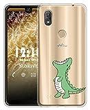 Sunrive Für Wiko View 2 Pro Hülle Silikon, Transparent Handyhülle Schutzhülle Etui Hülle für Wiko W_C860 (6,0 Zoll) View 2 Pro(TPU Dinosaurier)+Gratis Universal Eingabestift