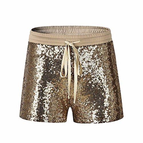 Pailletten Shorts Luckycat Modische Sommerhosen Damen Elastische Taille Pailletten Nacht Club Shorts Hose Sommerhosen Pants Hosen (Gold, X-Large)