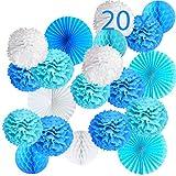 20 Pompones Azul Decoracion Bautizo Niño, Flores Pompom de Papel de Seda, Abanicos, Bolas de Nido de Abeja Guirnaldas. Decoración Fiesta de Bienvenida de Bebe, Cumpleaños -20 Piezas-