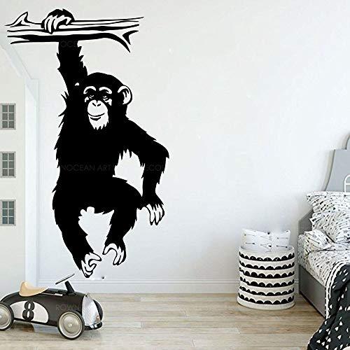 Lustige Affen Baum Wandtattoo Kinderzimmer Kinderzimmer kreative Cartoon Dschungel Wald Affe Tier Zweig Vinyl Aufkleber Schlafzimmer Dekoration A3 H56xB34cm