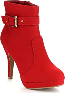 George-15 Women's Strap Buckle Stiletto Heel Ankle Booties