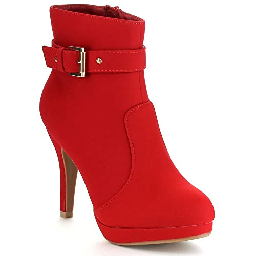 7054e7b21d17a Top Moda George-15 Women's Strap Buckle Stiletto Heel Ankle Booties