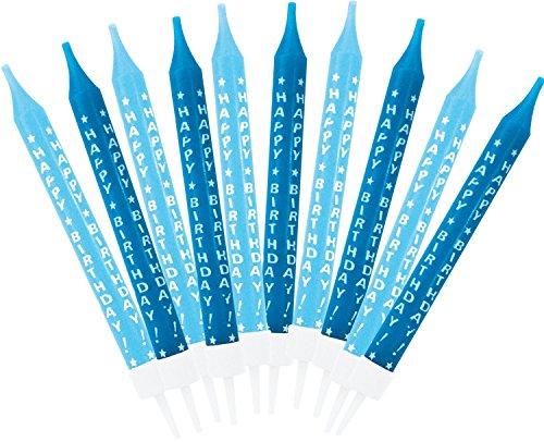 amscan - 551518 - 10 Bougies Anniversaire Garçon Bleu