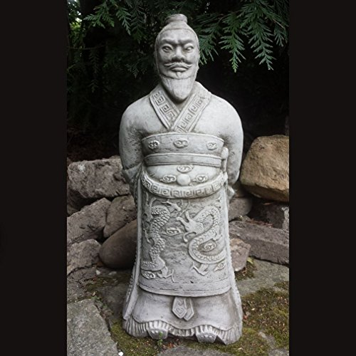ONEFOLD WARRIOR ZHAN SHI - HAND CAST STONE, DETAILED GARDEN ORNAMENT/STATUE/SCULPTURE