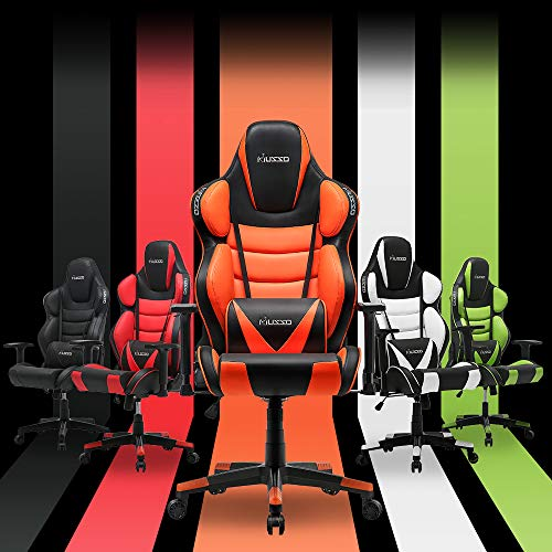 Musso Contoured Gaming Chair Adults Racing Computer Gamer Chair with Fully Foam, Esports Video Game Chair, PU Leather Executive Office Chair with Lumbar Support (Orange)