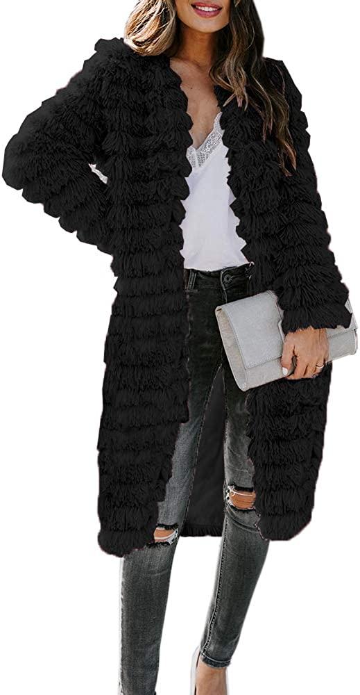 Womens Faux Fur Sherpa Long Cardigan Coat Casual Open Front Shaggy Jacket Winter Warm