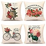 4TH Emotion Valentines Day Throw Pillow Covers 18x18 Set of 4 Spring French Style Flowers Cushion Case for Sofa Couch Home Decoration