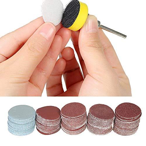 1 Zoll/25mm Schleifscheiben Pad, 100 Stück 100-3000 Körnung Schleifpapiere mit 1/8