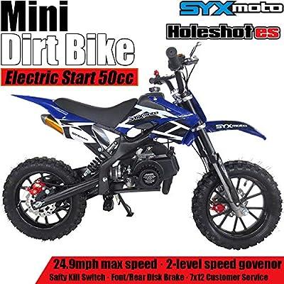 SYX MOTO Kids Mini Dirt Bike Gas Power 2-Stroke 50cc Motorcycle Holeshot Electric Start Motorcycle Pit Bike, Blue by SYX MOTO
