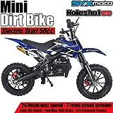 SYX MOTO Kids Mini Dirt Bike Gas Power 2-Stroke 50cc Motorcycle Holeshot Off Road Motorcycle Holeshot Pit Bike, Fully Automatic Transmission, Blue