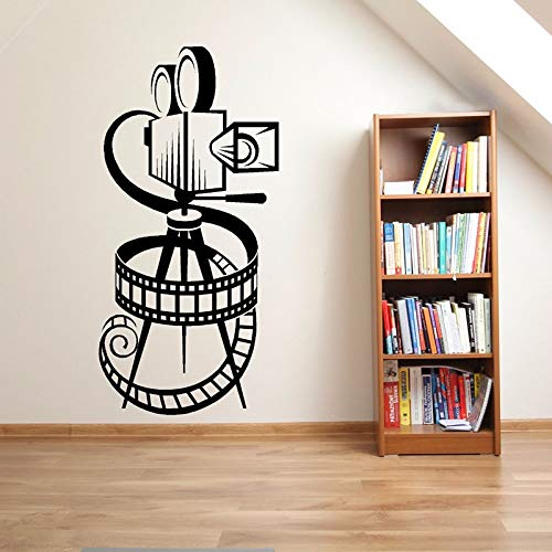 42x85cm,Wall Stickers for Classroom Reading Bookworm, Movie Camera Film Reel Cinema Theatre Poster Movie Make Murals Living Room Sticker Ornament Decals Vinyl Door Christmas Removable Birthday