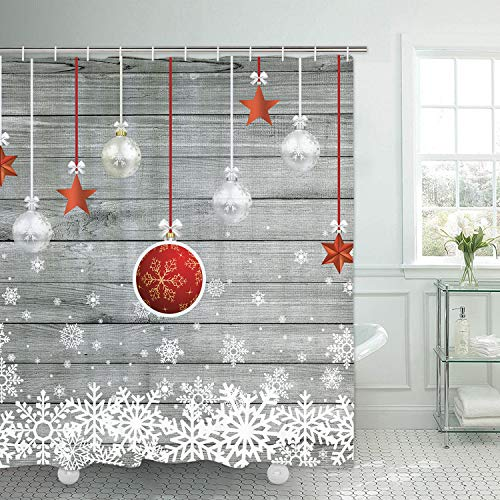 Alishomtll Duschvorhang Weihnachten bedruckt dekorativ wasserdicht Badezimmer Duschvorhang schimmelwiderstandsfähig mit Haken rote Kugeln 175 x 178 cm Polyester