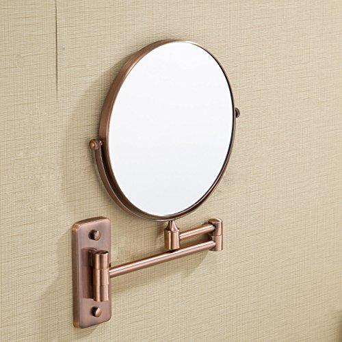 Gaoxu Une variété de cuivre Rouge Salle de Bains Miroir grossissant télescopique Ronde Pliante Double Miroir de beauté,8 Pouces carré Bas