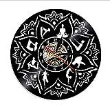 QHRP Semilla de la Vida Lotus Wall Art Zen Ornament Meditation Reloj de Pared Relajación Yoga Focus Decoración de Pared Vinyl Record Reloj de Pared