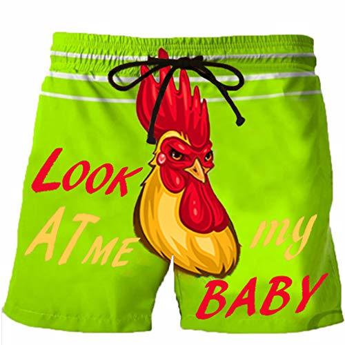 HULKY 2020 Herren Funny Shorts 3D Hahn Druck Schnelltrocknend Drawstring Shorts Laufhose Trainingshose Casual Strand Shorts Cargo Jogging Bermuda Sweatpants (Grün 5,3XL)