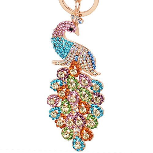 Reizteko Majestic Peacock Keychain Blingbling Crystal Charm for Feather Fans Key Chain Bird Animal Lovers Rhinestone Diamond Key Ring Holder Purse Bag Car Hanging Pendant Decoration Gift (Mix-colored)