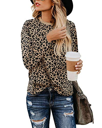 Naivikid Womens Leopard Print Tops Long Sleeve Round Neck Casual T Shirts Blouse Coffee XL