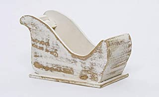 FavorOnline Antique Wooden Christmas Sleigh Nantucket LIC - Large 9-inch Ivory and Gold Wood Empty Sleigh