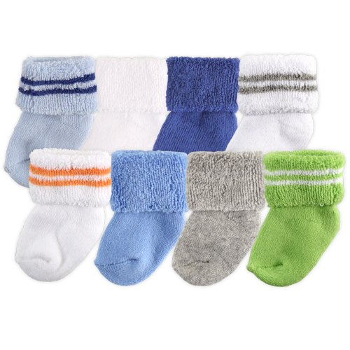 Luvable Friends baby boys Newborn and Terry Socks, Blue Green, 0-6 Months US