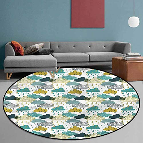 Autumn Polyester Home Decorator Carpets for Laundry Room Decor Rainy Clouds Grunge Icon 6' in Diameter