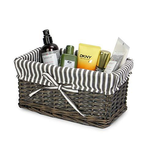 Cesta de mimbre gris | Forro a rayas incluido | Baño, hogar y lavandería | Organizador de madera | Cesto decorativo y canastilla | M&W (pequeño)