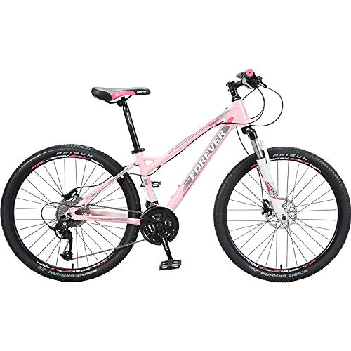 Mountain Bikes Tx Donne, Ruote da 26', Donne Mountain Trail Bike In Lega di Alluminio Biciclette Esterne, Bicicletta da 27 Velocità Full Suspension MTB Ingranaggi Doppio Disco Freni Rosa