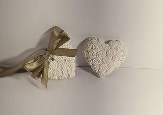 Gessetti profumati 25 cuori roselline 6,5x6 cm segnaposto matrimonio,nozze