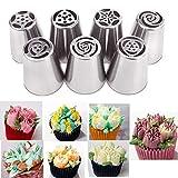 7 boquillas de tubería de acero inoxidable ruso puntas de tubería boquillas de glaseado para decoración de pasteles suministros de pastelería kits de herramientas