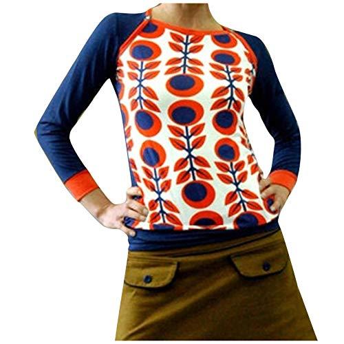 BRISEZZ Damenmode O-Ausschnitt Pullover Geometrischer Druck Langarm Oberteil Blusen T-Shirt Slim Tops Frauen Herbst- und Winter Sanft Hemd Streetwear (Rot, XL)