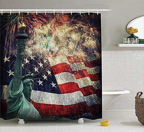 prz0vprz0v Amerikaanse vlag Decor douchegordijn, composiet foto van staten Idols met vuurwerk op achtergrond 4 juli, stof badkamer Decor Set met haken, 72W x 79L Inch badgordijnen, Multi