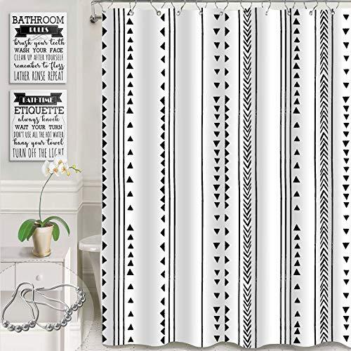 "Gibelle Black and White Boho Shower Curtain, Bohemian Herringbone African Tribal Triangle Stripes Geometric Hand Drawing, Modern Simple Decorative Waterproof Fabric Bathroom Decor, 72"" W x 72"" L"
